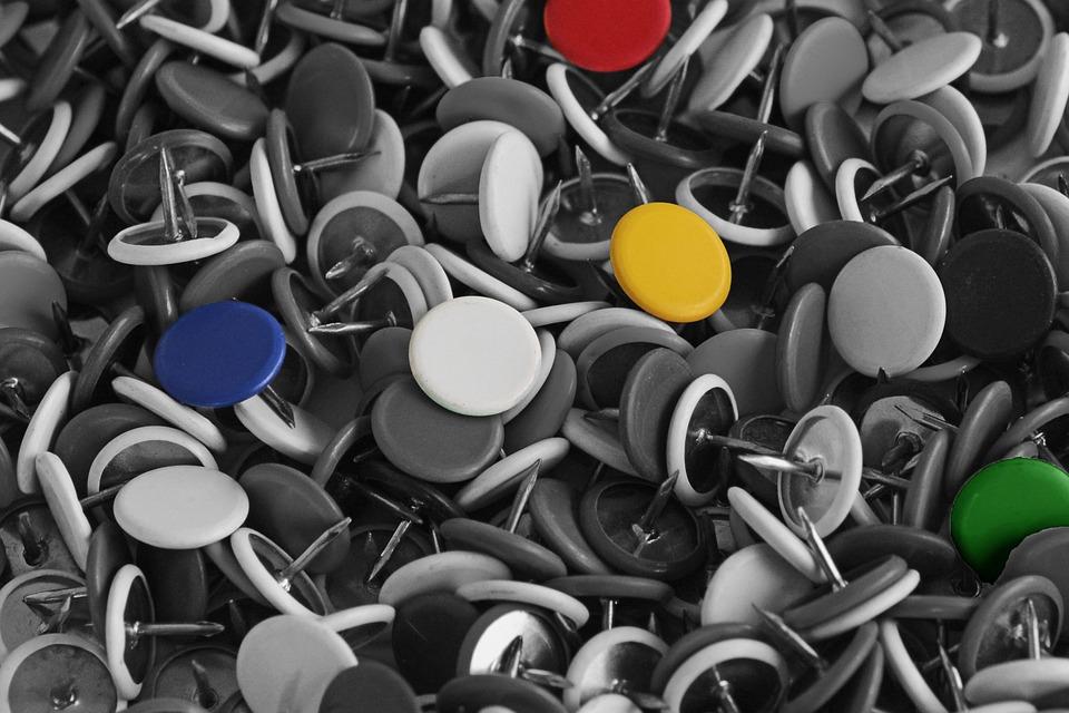 Nails, Purposes, Tacks, Colorful, Black And White, Pin