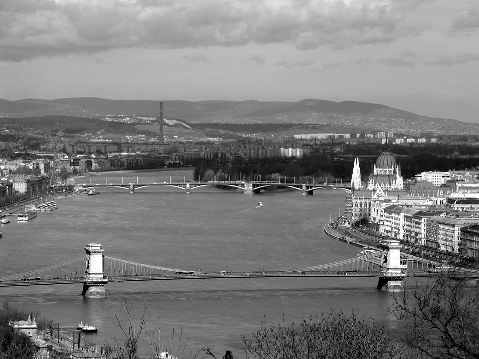 Budapest, Bridge, Danube, Black And White