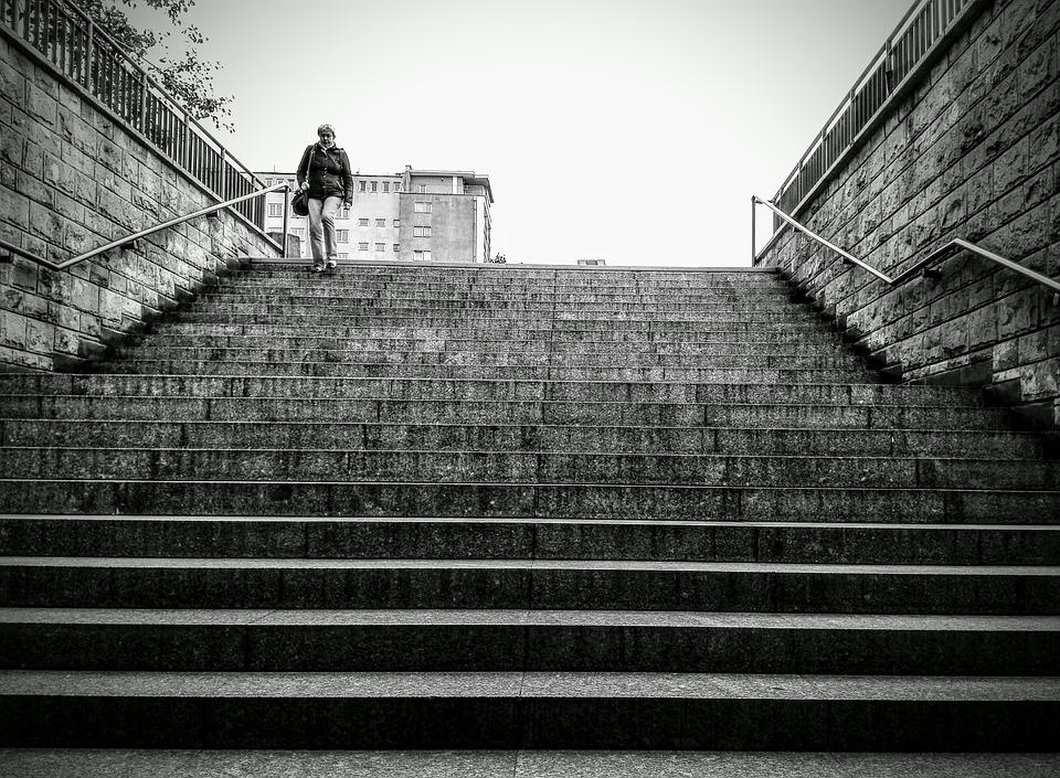 Entrance, Black And White, Stairs, The Silence