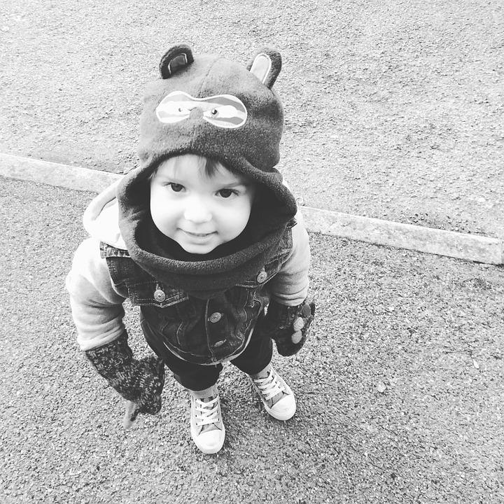 Toddler, Boy, Black And White, Child, Happy, Winter