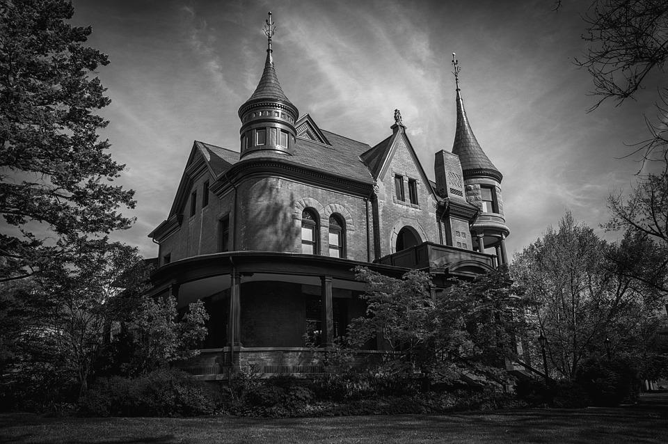 Black And White, Mansion, Home, Old, Architecture