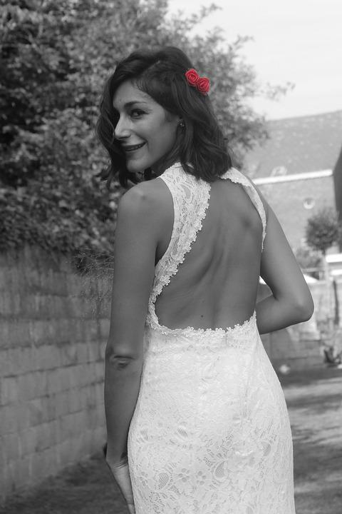 Wedding, Lace, Black And White, Red
