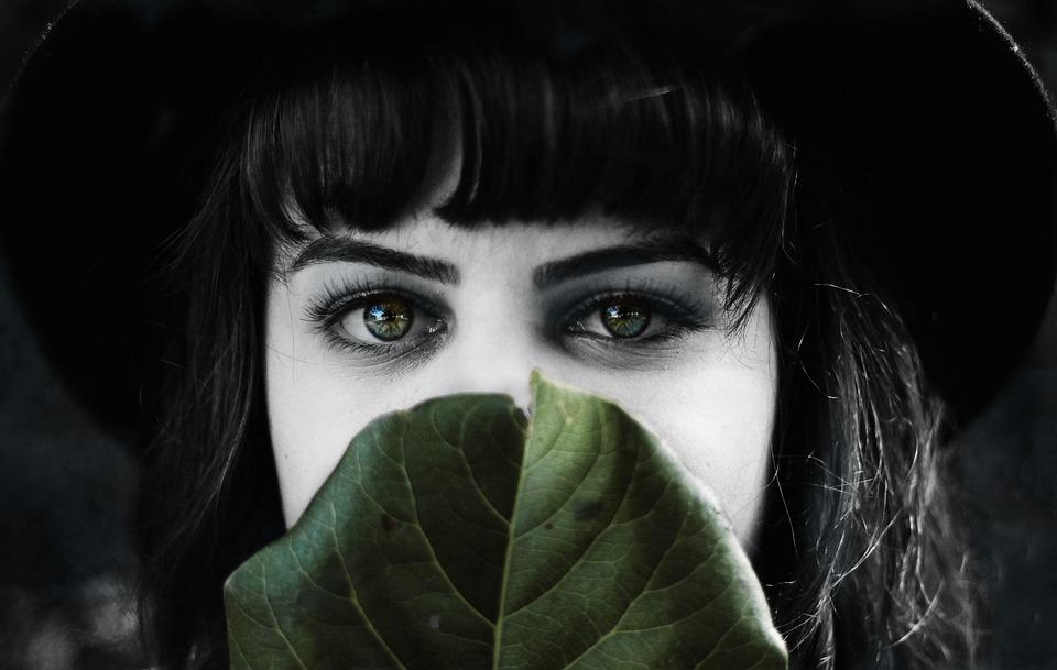 Lady, Leaf, Woman, Green Leaf, Black And White