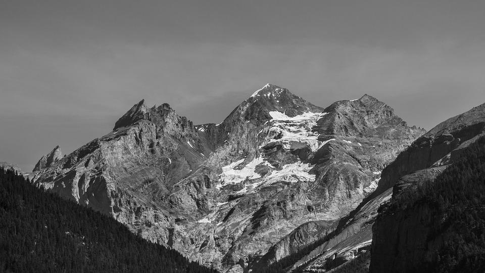 Mountains Black And White Mountain Peaks Landscape