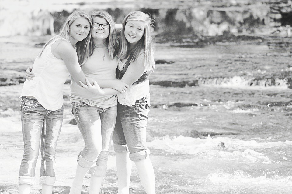Girls, Happy, Laughing, Friends, Water, Black And White
