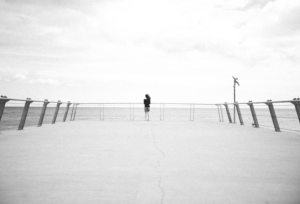 Black And White, Beach, Pier, Relaxation, Light