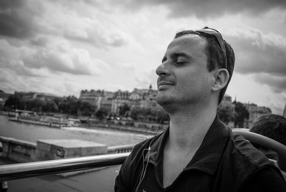 Paris, Tourism, Man, Black And White, Seine River