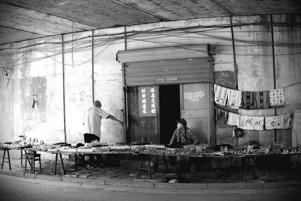 Man Under The Bridge, Life, Black And White, Bazar