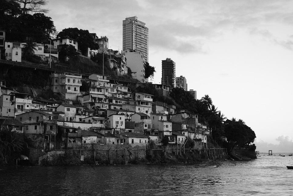 Favela mangu beach black and white brazil
