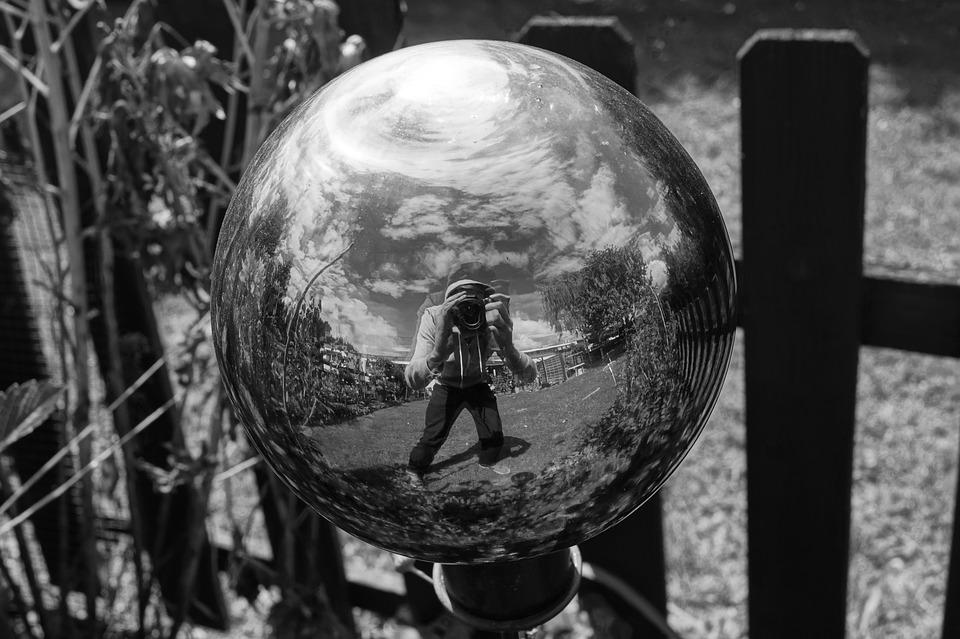 Black And White, Ball, Mirroring, Self Portrait