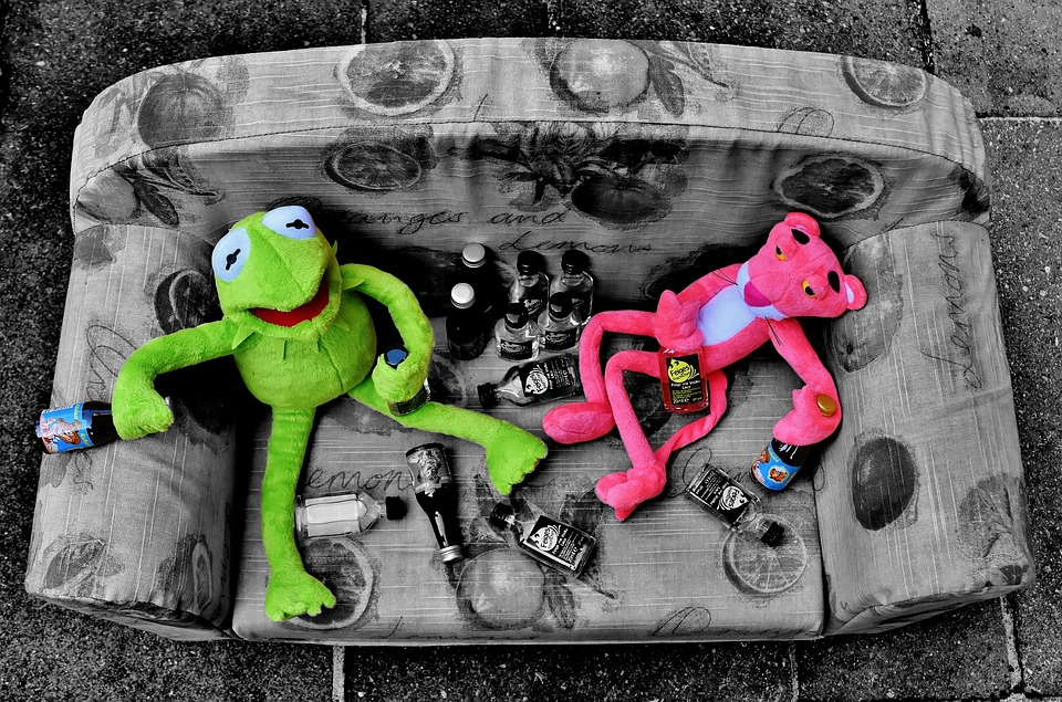 Kermit, The Pink Panther, Black And White, Mix, Friends