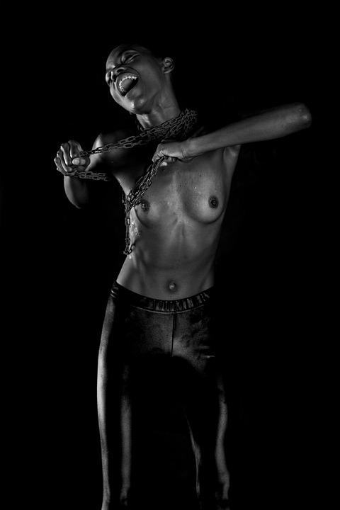 Black, Model, Studio, Exposure, Black And White