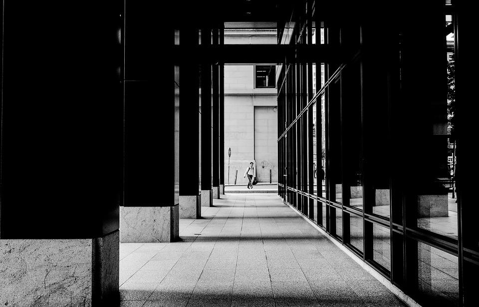 Black And White, People, Man, Walking, Alley, Building