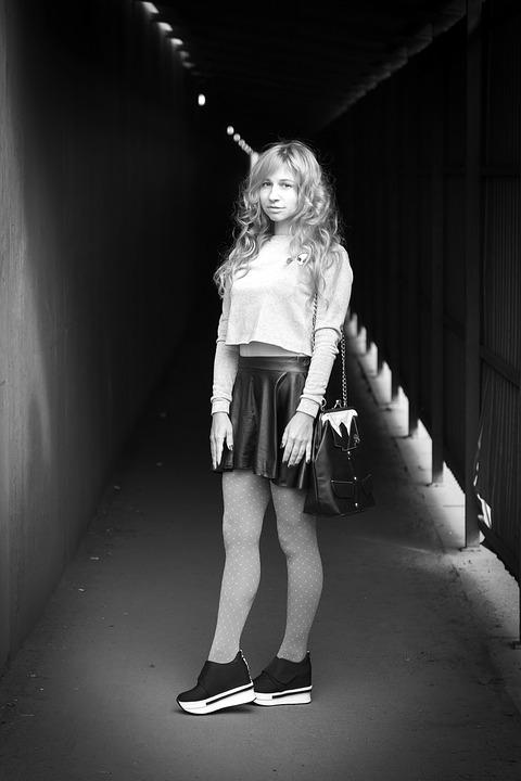 Leather Skirt, Sneakers, Tunnel, Black And White Photo