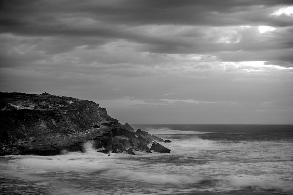 Portugal, Atlantic, Sea, Black And White, Ocean, Coast