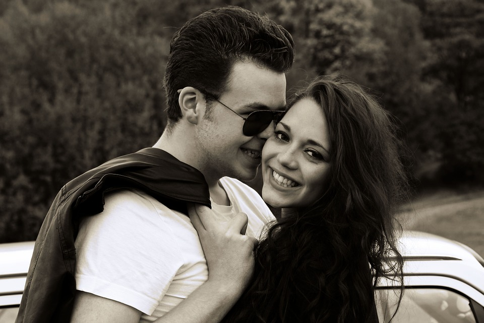 Couple, Girl, Boy, Love, Smile, Black And White, Retro