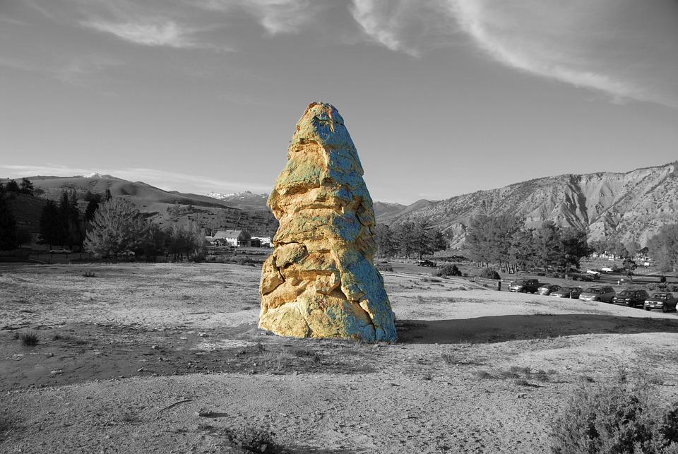 Artistic, Scenery, Black And White, Rock, Yellowstone