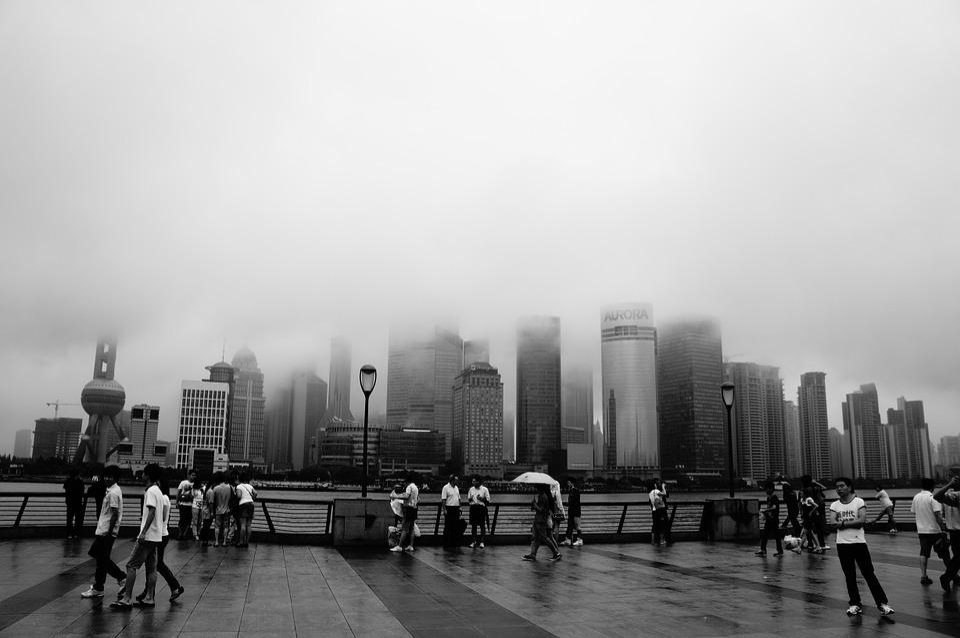 Shanghai, Smoke, Black And White, Fog, Tall Buildings