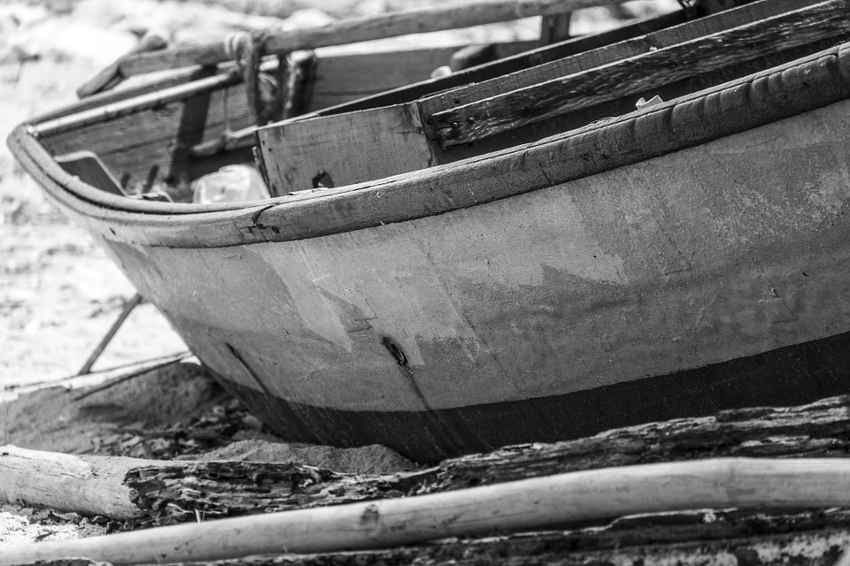 Boat, Black And White, Thailand