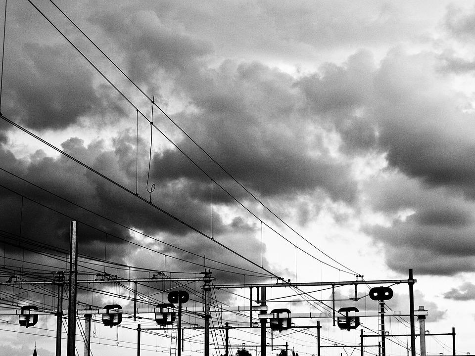 Train, Wires, Clouds, Black And White, Amsterdam