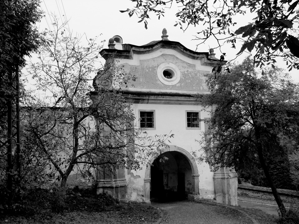 Gate, Trees, Black And White, City, Path, Slovakia