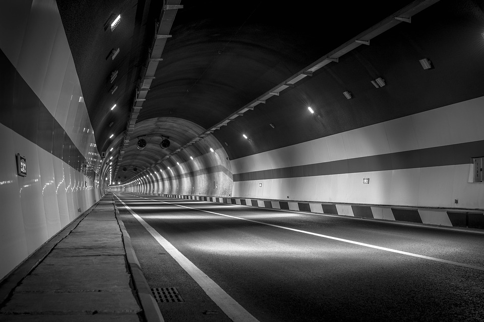 Black And White, Tunnel, Road