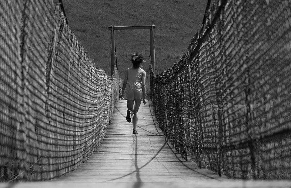 Woman, Bridge, Runs, Black And White, Girl