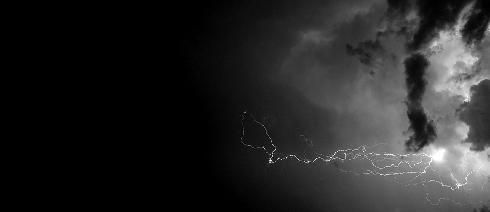 Lightning, Black, White, At Night, Clouds