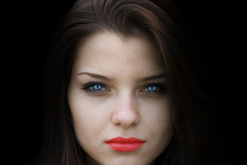 Woman, Face, Beauty, Black Background, Blue Eyes
