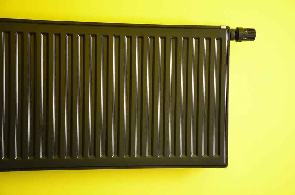 Radiator, Heating, Green Wall, Neon, Black, Background