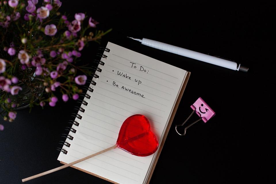 Love, Lollipop, Flowers, Notebook, Black Background