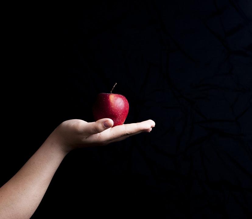 Apple, Hand, Black Background, The Background, Black