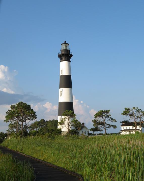 Lighthouse, North Carolina, Bodie Island, Ocean, Black