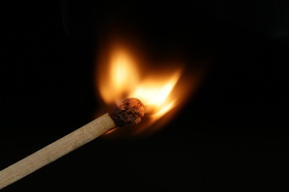 Match, Sulfur, Black, Fire, Flame, Burn, Burns