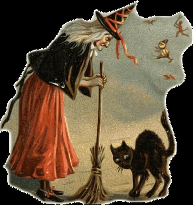 Witch, Black Cat, Broom, Halloween, Dark, Terror, Fear