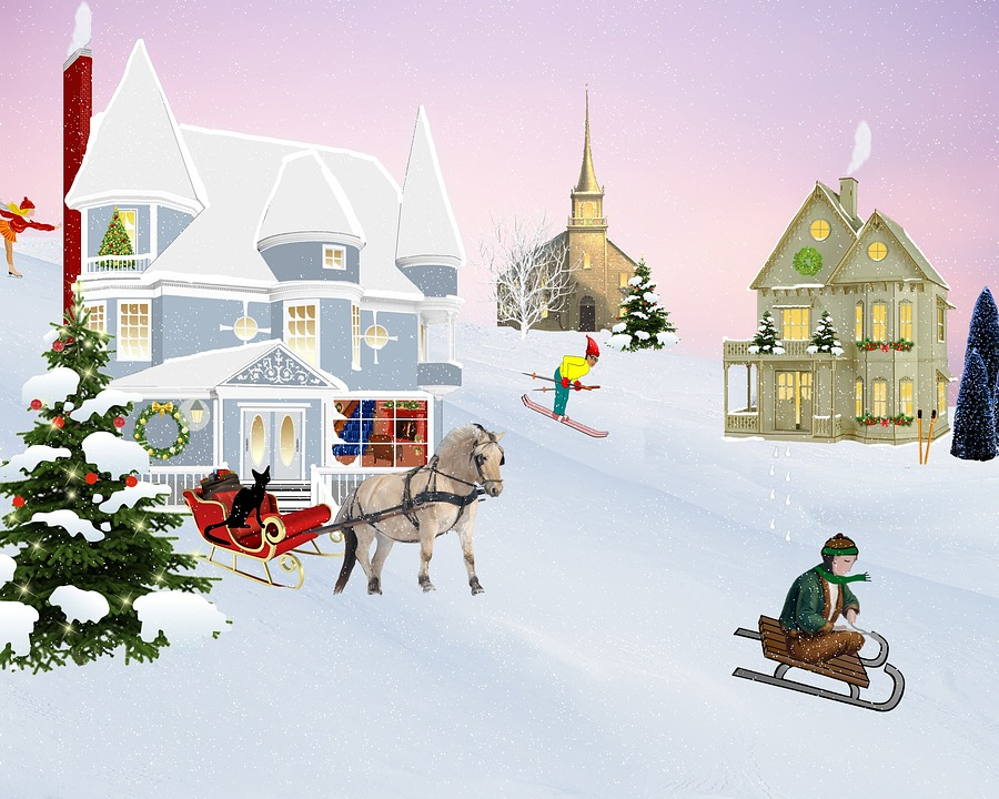 Scene, Christmas, Village, Snow, Black Cat, Bell Tower