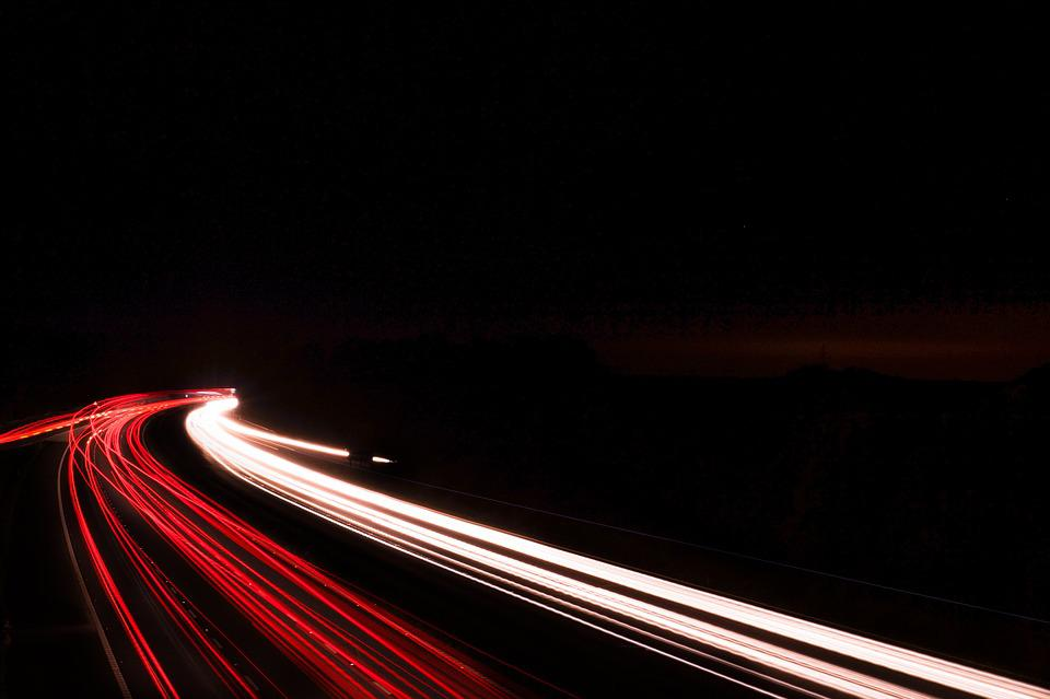Night, Highway, Empty Space, Dark, Black, Red White