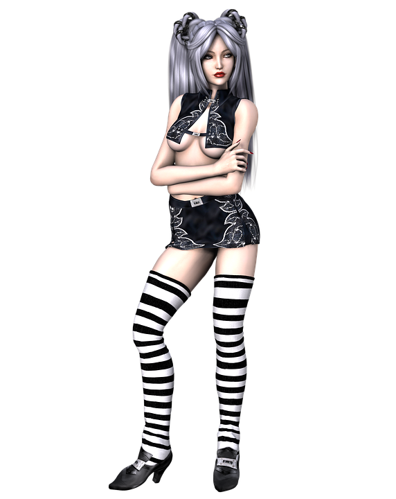 Girl, Hair, Hairstyle, Sexy, Gothic, Black, Posing, 3d