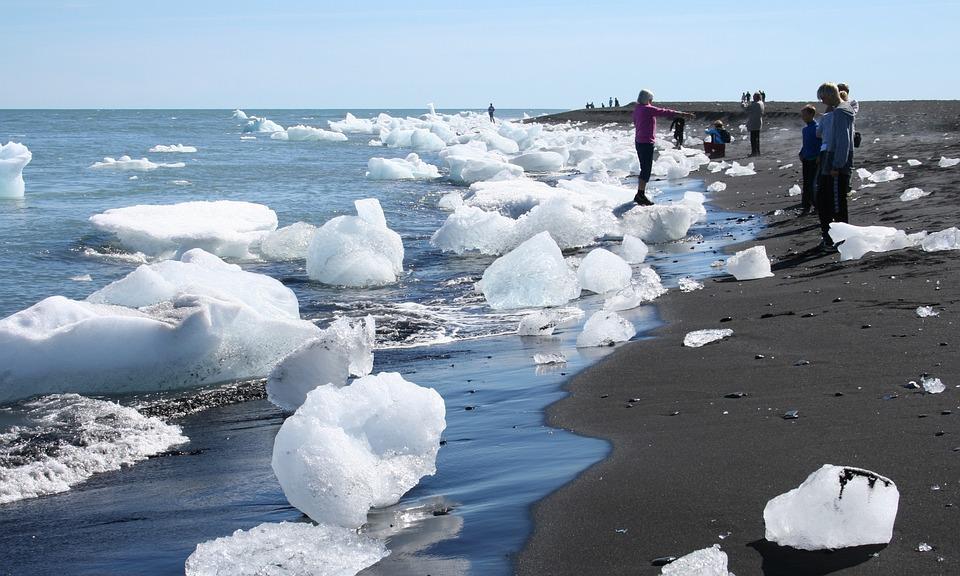 Iceland, Glacier, Icebergs, Black Sand, Black, Sand