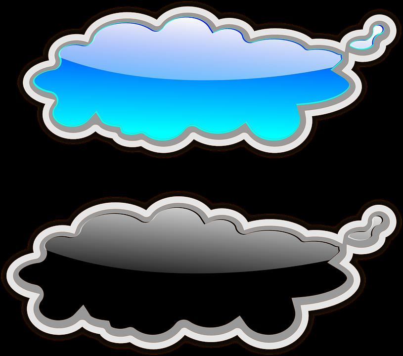 Clouds, Gloss, Glossy, Blue, Black