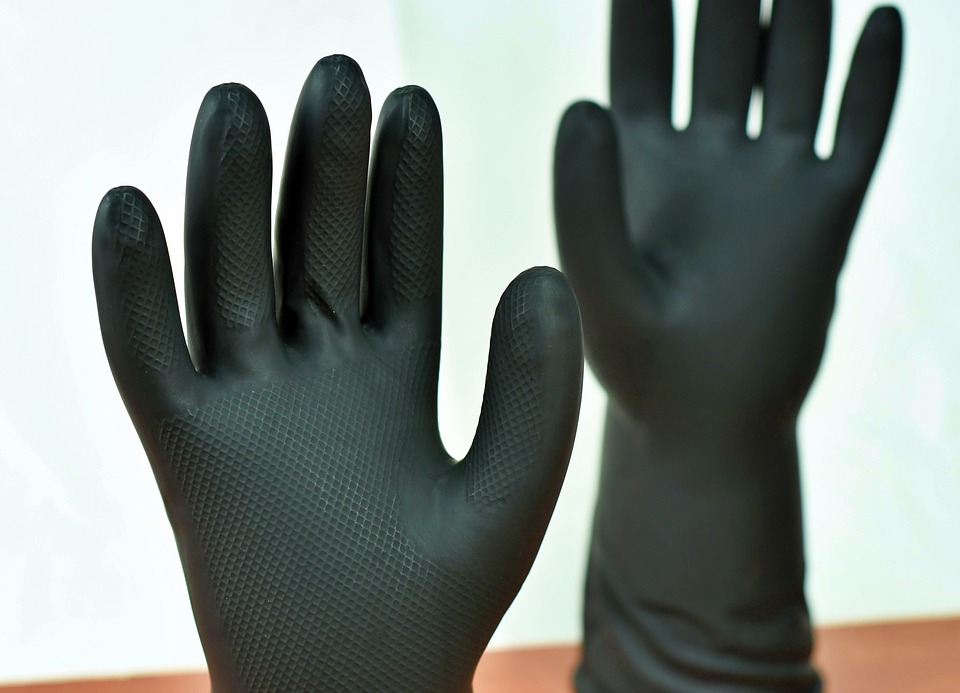 Gloves, Cleaning, Toilet, Wash, Black, Latex, Clean