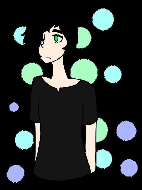 Drawing, Girl, Black Hair, Green Eyes, Colourful