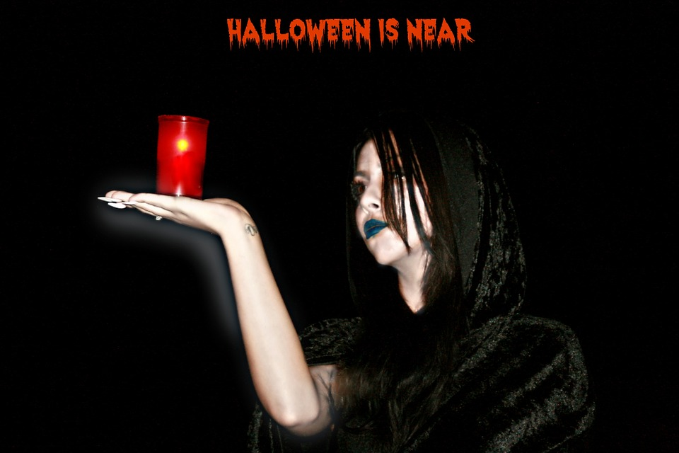 Halloween, Witch, Candle, Night, Black