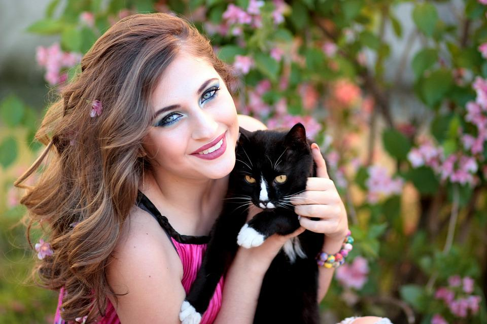 Girl, Cat, Love, Hug, Beauty, Black, Portrait