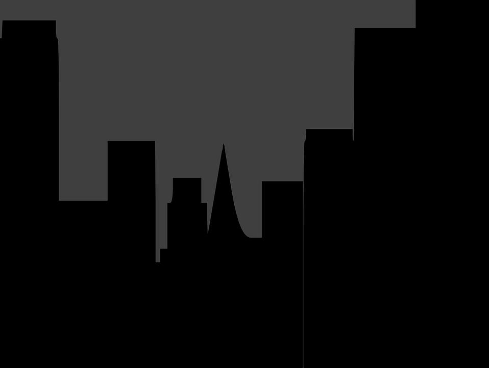 City, Skyline, Night, Buildings, Huge, Black, Gray