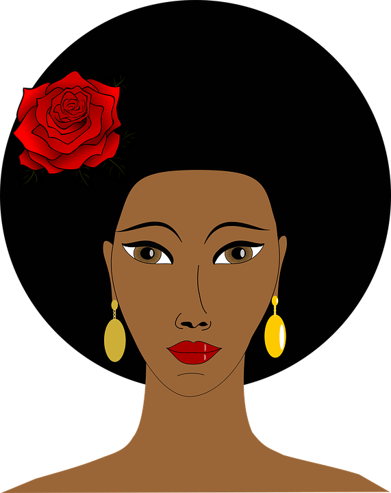 African, Afro, Black, Cartoon, Face, Hair, People, Rose