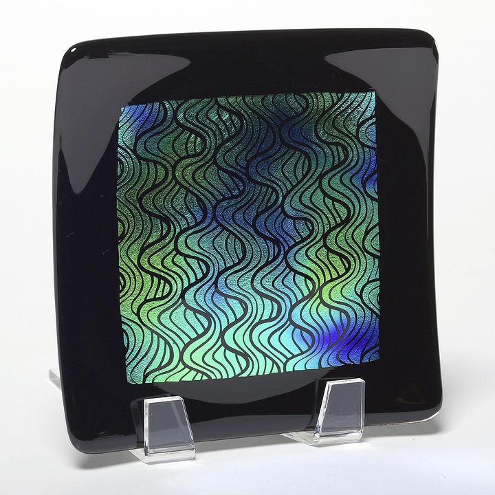 Plate, Glass, Art, Black, Homedecor, Blue, Iridescent