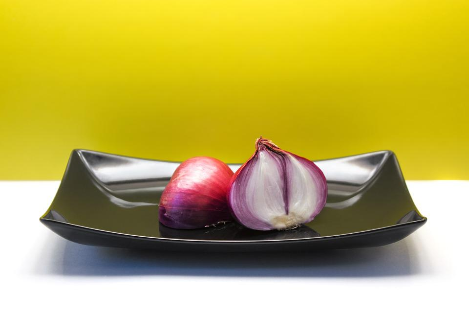 Onion, Vegetables, Black Plate, Yellow Background