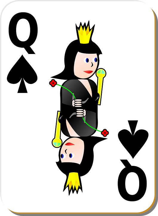 Cards, Queen, Playing Card, Spade, Black
