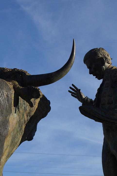 Statue, Bull, Man, Bullfight, Vic-fezensac, Black, Sky